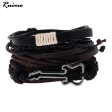 Fashion Jewelry Men s Bracelet Sets Alloy Guitar Hemp Rope Woven PU Leather Beaded Bracelets Casual