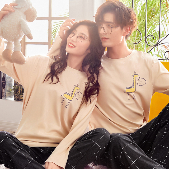 Couple's pajamas Autumn Cotton Long-sleeve Pyjamas Women Sleepwear Love Men And Women Lounge Pajama Set pullover