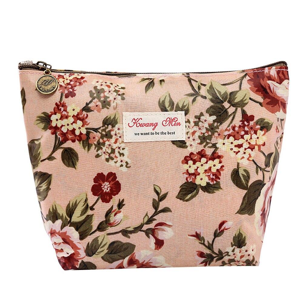 Fashion Vintage Floral Cosmetic Bag Flowers Printed Women Travel Makeup Bag Zipper Organizer Mini Pouch Coin Cheap Purses Girls
