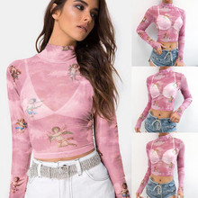 Casual Sexy Autumn New Womens Slim Turtleneck Long Sleeve Starry Angle Print Mesh Perspective Short t Shirt Top 2019