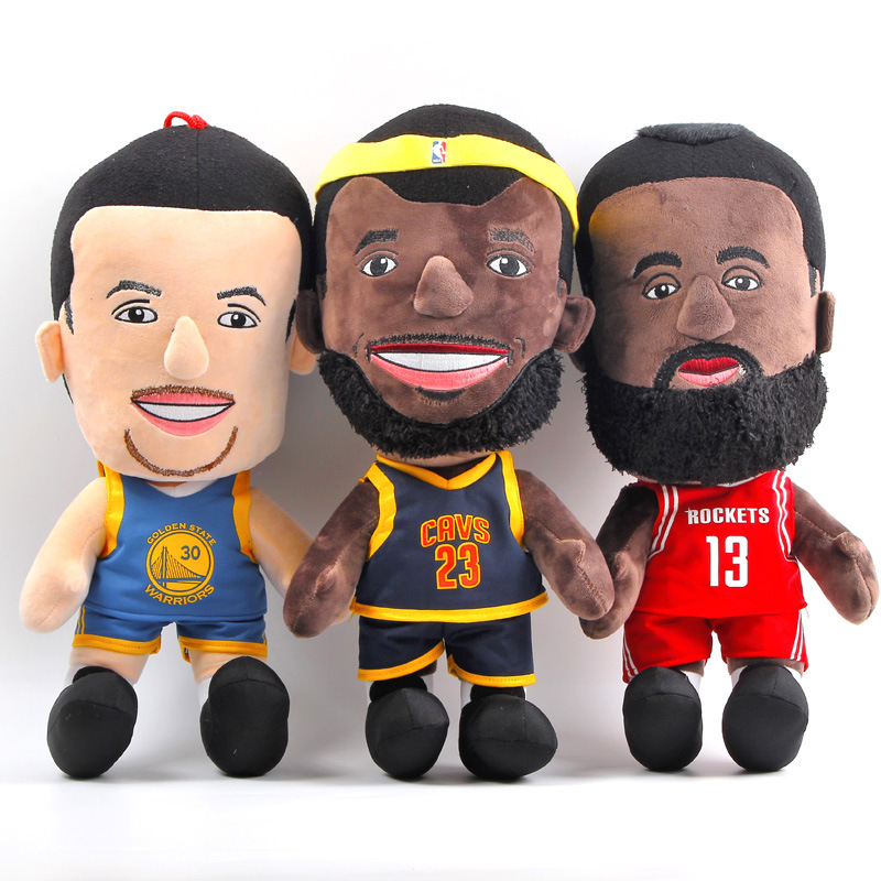 25cm NBA Basketball Player Super Stars Plush Doll Toys LeBron James Stephen Curry James Harden Plush Stuffed Figure Toys Gifts фанатская атрибутика nike curry nba