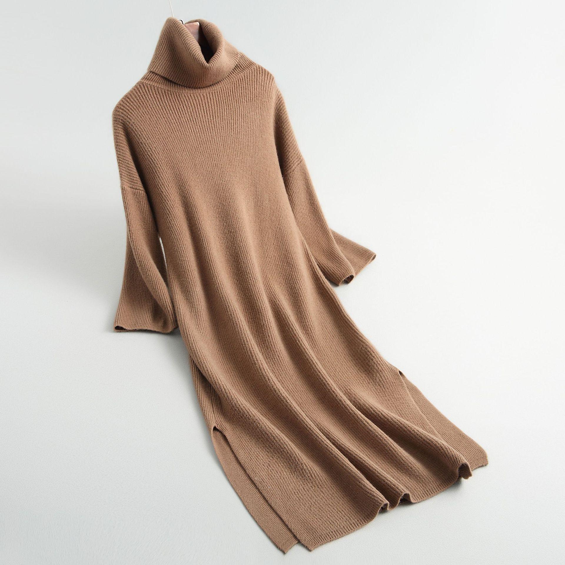 2018 femmes Pull à col roulé Split femmes moulante Pull robe longs pulls à tricoter femmes hiver Pull Femme Tricot Pull