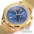 Famosa Marca Original Orkina Homens Grande Mostrador Azul Ampla Banda De Malha De Aço Inoxidável Completa Aço Analógico de Quartzo Relógios de Ouro