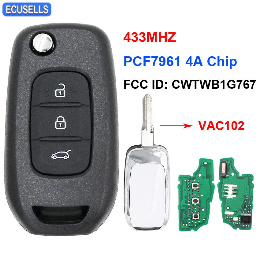 3 Button Flip Remote Key 433Mhz PCF7961 4A Chip FCC ID: CWTWB1G767 For Renault Kadjar Captur Symbol Megane 3 2013 - 2017 VAC102