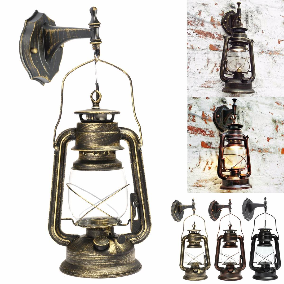 Retro Lantern European Kerosene Wall Lamp Bedroom Wall Sconce Wrought Iron Glass Restaurant Bar Aisle Light Fixture With Bulb