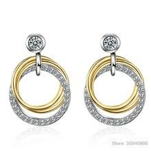 Модные двойные круглые серьги-гвоздики из стерлингового серебра 925 пробы с микро кубическим цирконием