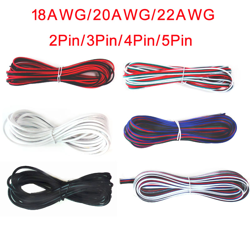 5M 10M 20M 2Pin <font><b>3Pin</b></font> 4Pin 5Pin 18AWG 20AWG 22AWG Electric Extension <font><b>Wire</b></font> Cable for LED Strip Light image