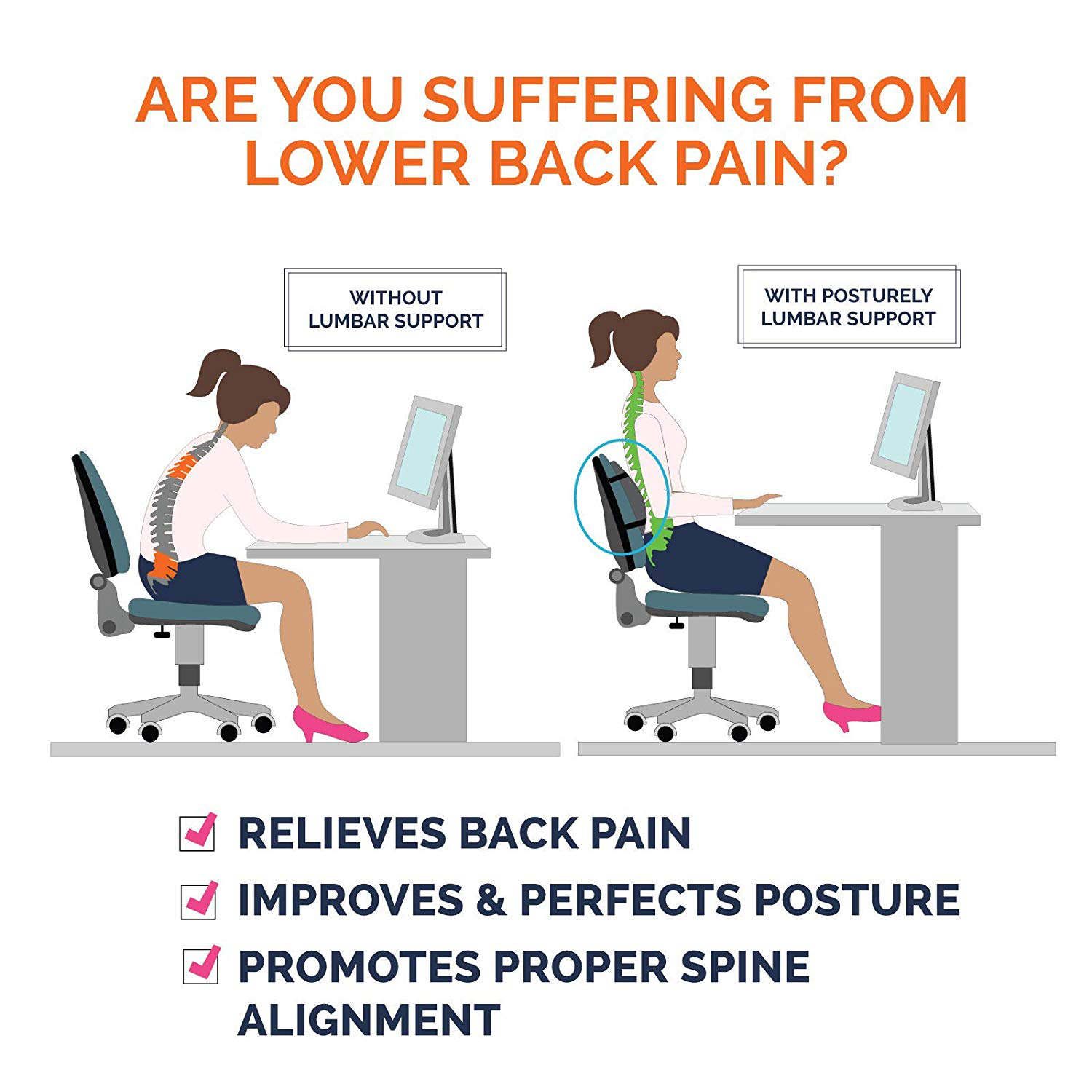 lower back pain relief lumbar support pillow premium memory foam posture support cushion for office chair car sofa wheelchair