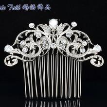 Elegante Zircon Claro Rhinestone Cristales Flor Del Pelo Accesorios Para el Cabello Peine Nupcial de la Boda Joyería de Las Mujeres CO2253R