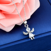 SINLEERY романтическое ожерелье с кулоном в виде крыльев Ангела из кубического циркония для девушек модная цепочка из розового золота для женщин вечерние ювелирные изделия Xl679
