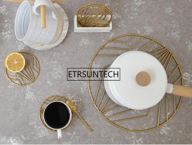 Almohadilla de hierro oro nórdico posavasos taza mantel taza de café estera mesa superior almohadilla de aislamiento térmico decoración de escritorio para el hogar - 4