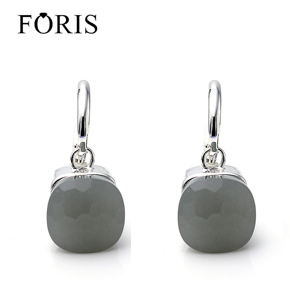 FORIS 18 Colors Luxury Jewelry Fashion Big Crystal Silver Earrings For Women Gift Fine Jewelry PE030