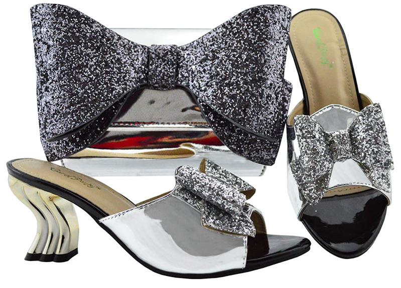 Sliver African Color Wedding Shoes And Bag Sets Women's Shoe And Bag To Match For Parties African Shoes And High Quality YM001A doershow shoe and bag to match italian african shoe and bag sets women shoe and bag to match for parties african shoe htx1 18