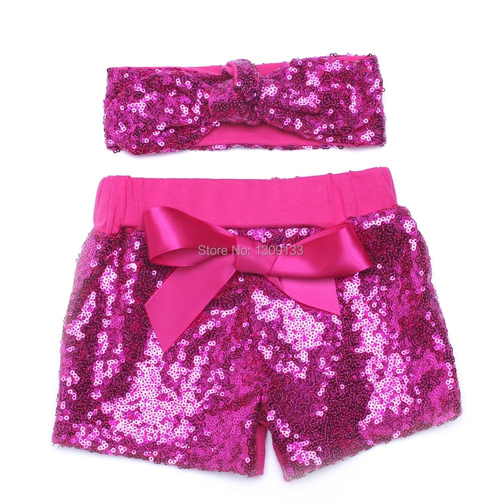 14 Kleuren Bling Vonken Sequin Katoen Shorts Verjaardag Outfit Meisjes Peuter Baby Meisjes Shorts Met Knoop Heaband Noch Te Hard Noch Te Zacht