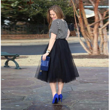 Casual Black Smooth Tulle Skirt Simple Leg length Midi Skirt Modern Fashion Skirts Women high quality custom
