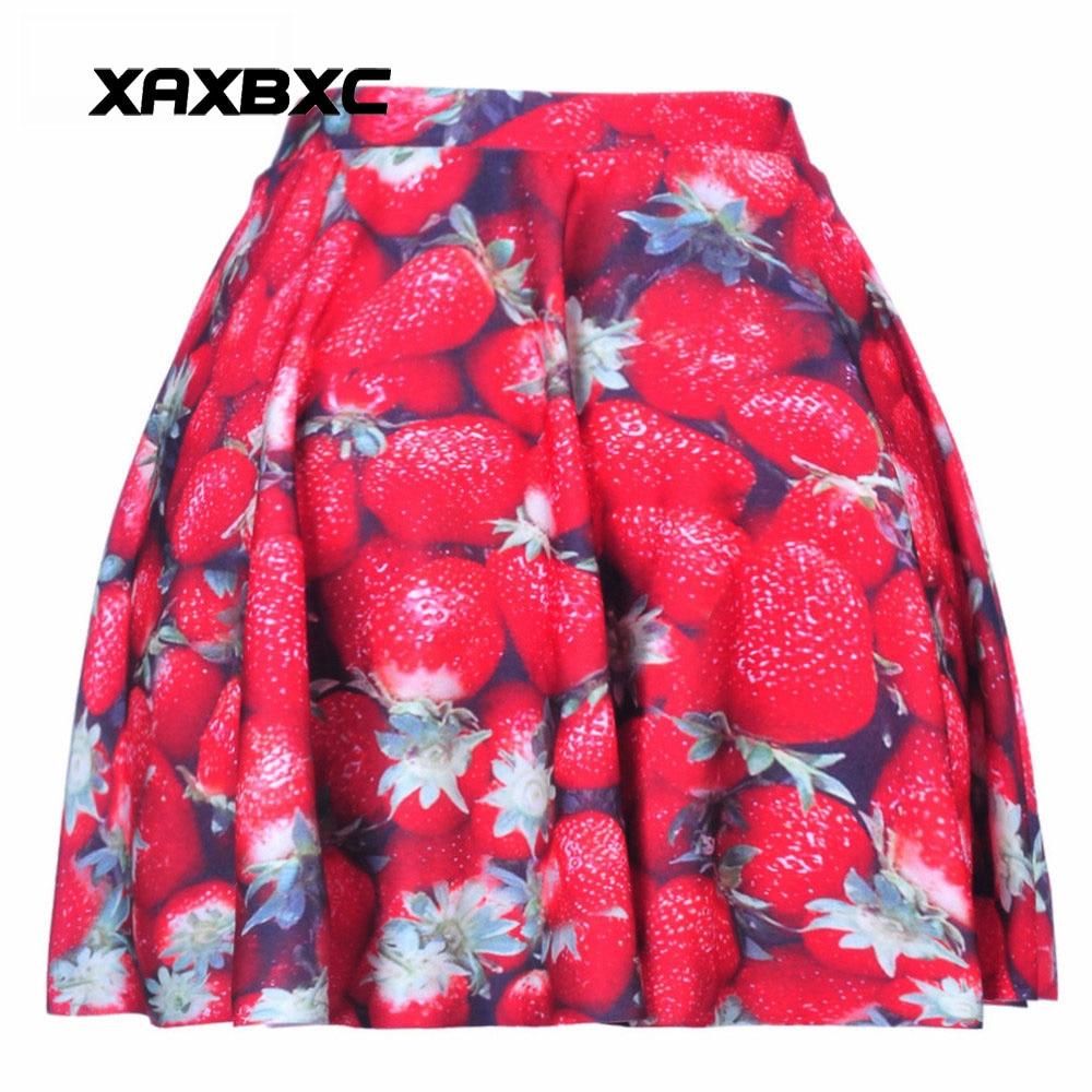 NEW 1045 Summer Sexy Girl Sweet Strawberry Fruit Printed Cheering Squad Tutu Skater Women Mini Pleated Skirt Plus Size