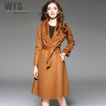 Kimono Long Coats 2017 Autumn Winter New Arrival Chic Wide Lapel Full Sleeve Waistband Bow Slim Overcoat Red Brown Navy Blue