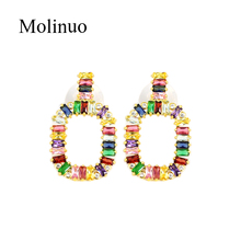 Molinuo rainbow earrings jewelry colorful crystal statement fashion square inlay cz drop stud Earrings for women2019