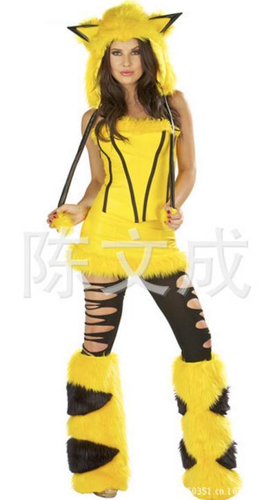 Disfraces sexy de mujer mujeres Halloween Pikachu amarillo 4 unidades Sets  rol Lencería para las mujeres vestido sin tirantes pequeño diablo sexy wl83 6665b7b97529