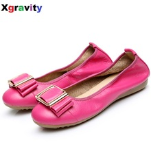 Lady Super Soft Woman's Flat Shoes Butterfly Knot Foldable Flats Elegant Comfortable Women's Genuine Leather Leisure Loafer C013