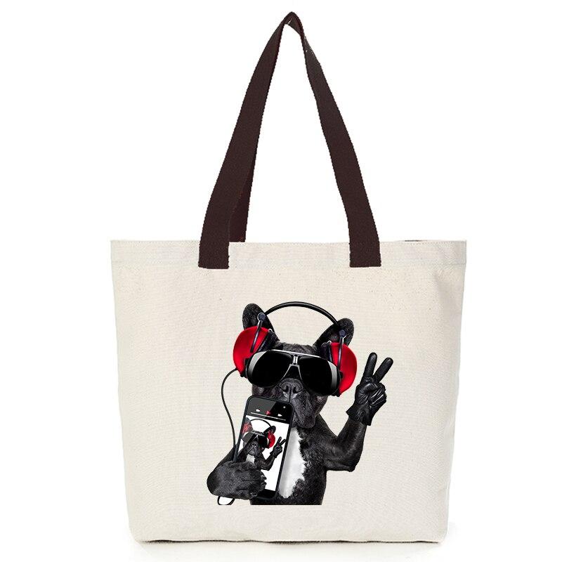Origina cool dog series canvas custom tote bag customize eco bags diy logo shopping bag with logo  Dachshund Shepherd Dog Poodle (6)