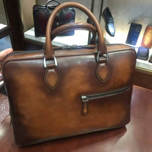Terse Chinese Manufacturer Vintage Leather Tote Bag For Man Italian Calfskin Genuine Briefcase Handmade Patina Custom