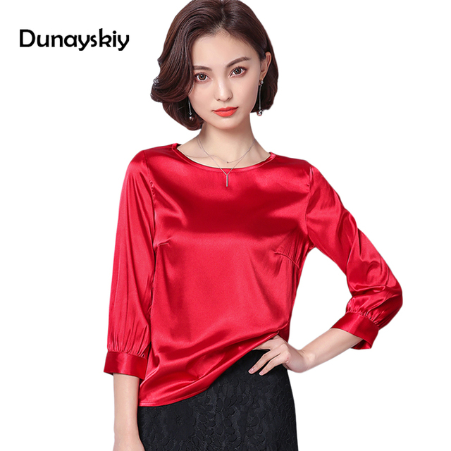 64b5464547cc1 Many Colors Women Blouse O Neck women Tops clothes Vintage Casual Three  Quarter Sleeves High Quality Blouse Shirts