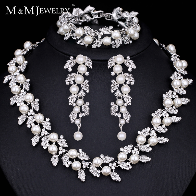 Minmin Synthetic Pearl Leaves Jewelry Sets for Brides African Beads Jewelry Set for Women with Crystal TL283+SL089