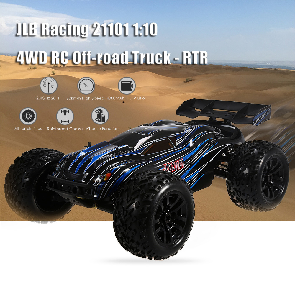 Clearance JLB Racing 21101 1:10 4WD RC Brushless Off-road Truck RTR 80km/h / 3670 2500KV Brushless Motor / Wheelie FunctionClearance JLB Racing 21101 1:10 4WD RC Brushless Off-road Truck RTR 80km/h / 3670 2500KV Brushless Motor / Wheelie Function