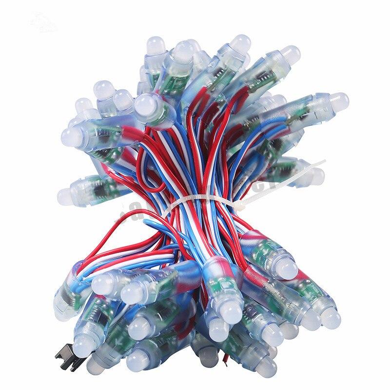 50pcs String WS2811 waterproof module 5V Pixel 12mm RGB Bead Addressable LED Module Light String IP68
