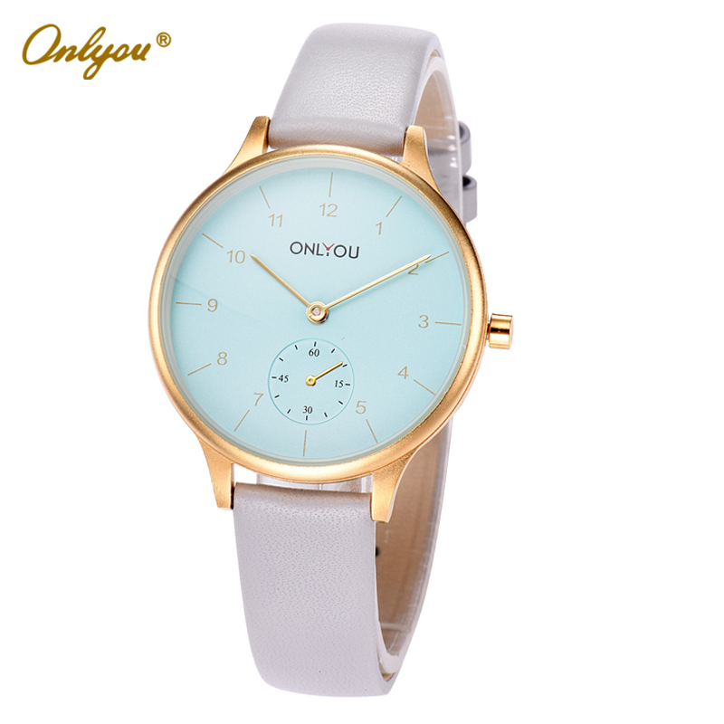 Onlyou Brand Girls Quartz Wrist Watches Leather Strap 30m Waterproof Big Dial Ladies Dress Watch Fashion