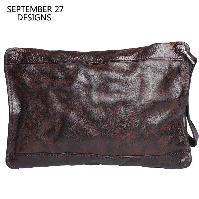 Men's Long Wallets Genuine Leather Vintage Handmade Luxury Male Clutch Phone Wallet 100%Cowhide Leather Retro Credit Card Purses-in Wallets from Luggage & Bags    1