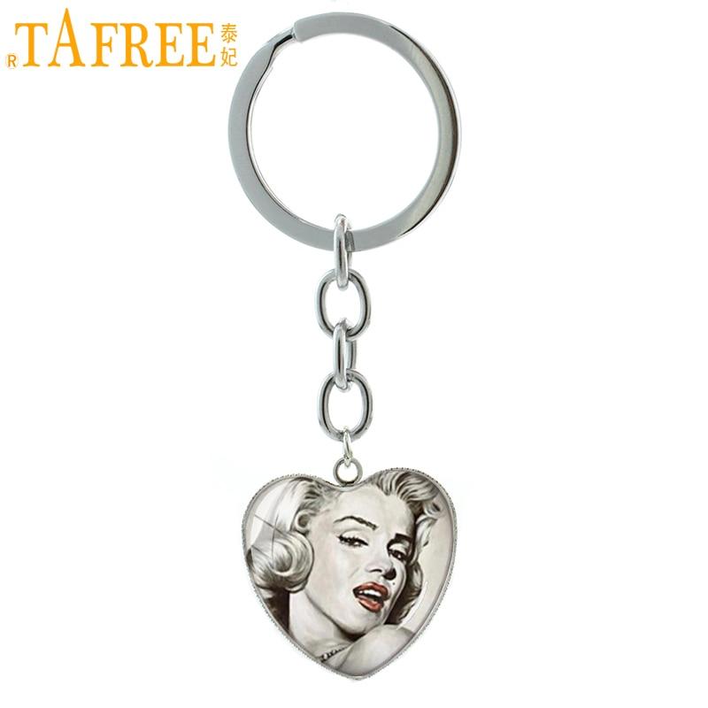 TAFREE American Movie Star  Marilyn Monroe Keychain Vintage Icon Idol Photo Heart Pendant Key Chain Ring Fans Jewelry HP123