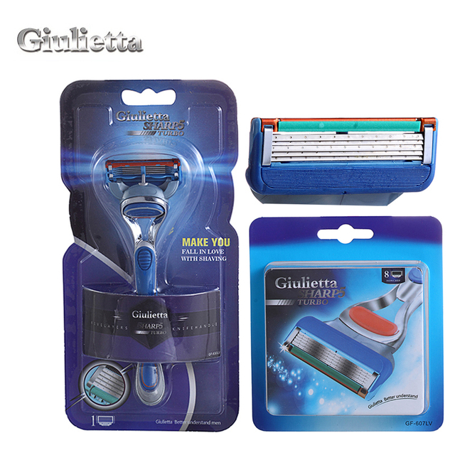 Giulietta Brand New Shaving Blades 1 Holder With 9 Blades Comfortable Men's Face Care Razor Blade Plastic And Stainless Steel