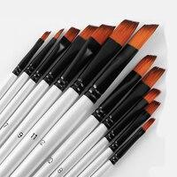12 pinceaux Pinceaux de peinture de taille mixte Nylon blanc Aquarelle Brush Set Student Children Painter Art Supplies 6