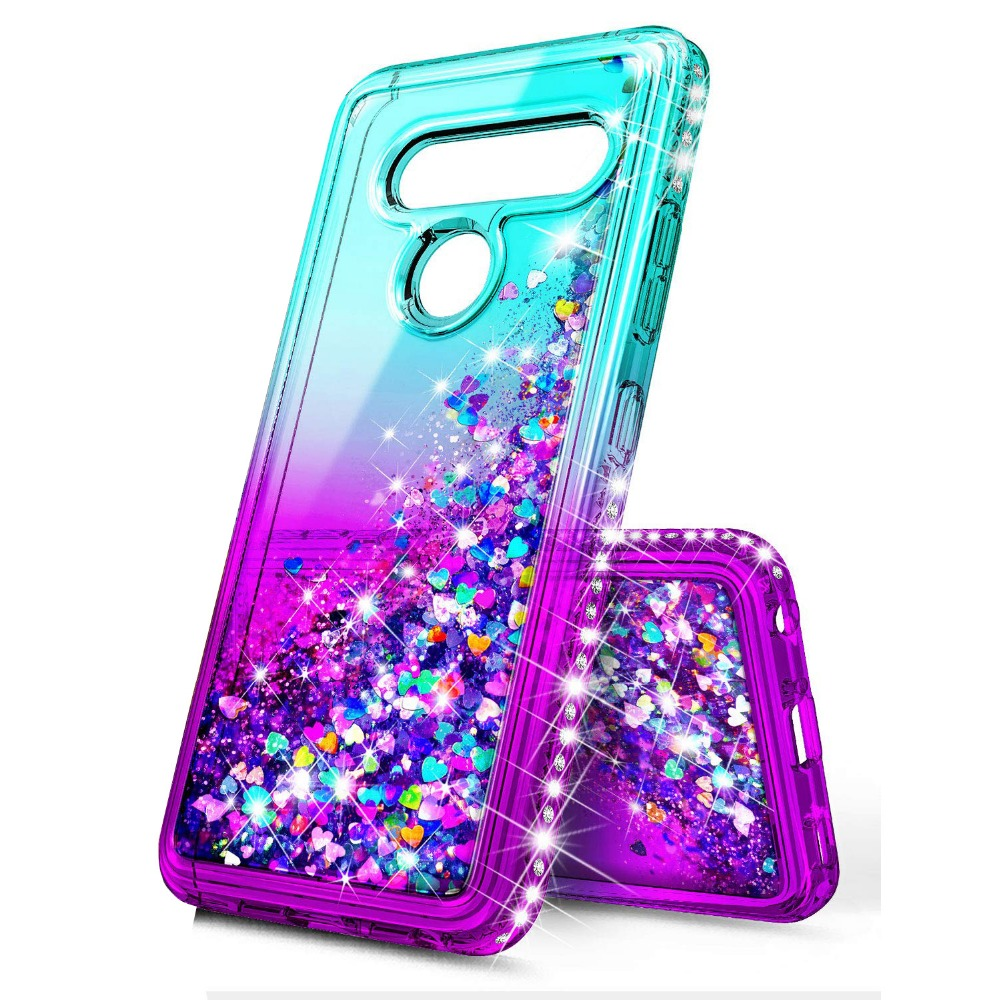 For LG G8 ThinQ Phone Case Dynamic Liquid quicksand Bling cute Sequin Glitter Diamond Shockproof Love Heart Shockproof Cover image