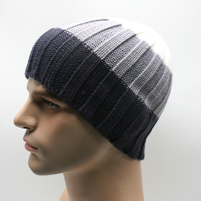Winter Wool Knitted Skull Beanies Mens Beanie Hats Knitting Patterns
