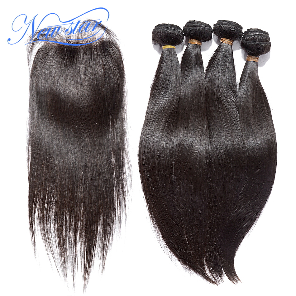 NEW STAR Brazilian Straight Hair 4 Bundles Virgin Human Hair Extension With a 4x4 Lace Closure 100% Unprocessed Raw Hair Weaving