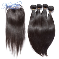 NEW STAR Brazilian Straight Hair 4 Bundles Virgin Human Hair Extension With A 4x4 Lace Closure