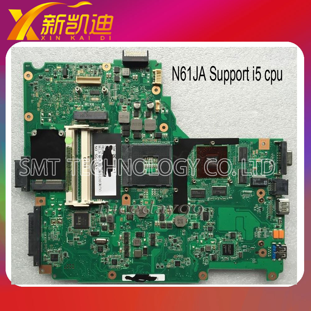 For ASUS N61JQ Notebook Motherboard N61JA system Mainboard( I5 Processor)&Tested ok Free shipping  notebook motherboard for samsung np550 np550p5c n13p gt a2 gt650m ba92 09094a ba41 01898a tested ok free shipping