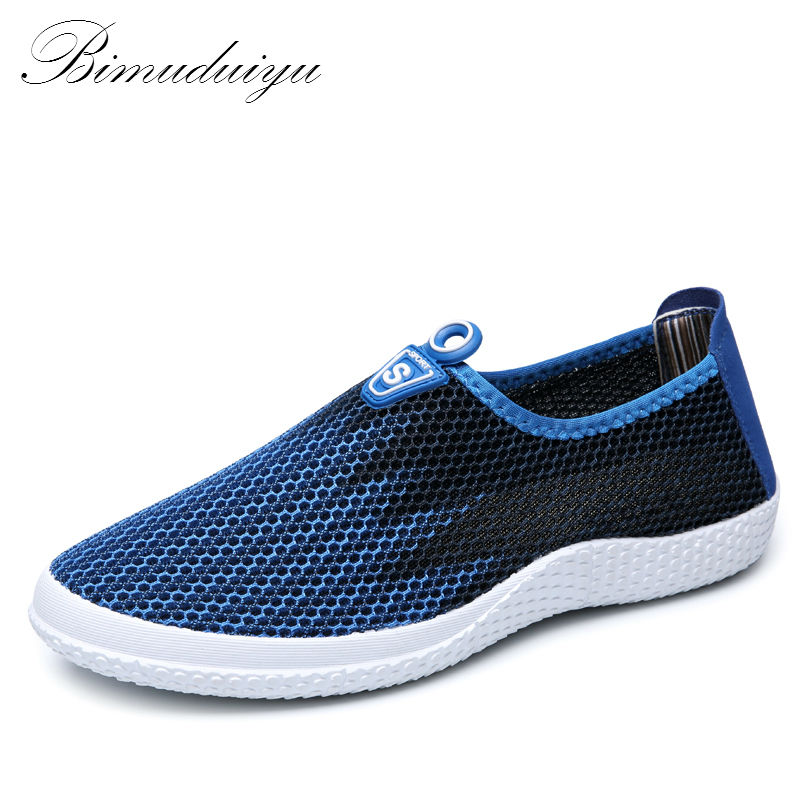 BIMUDUIYU Brand Hot Summer Style Male Lazy Network Casual Shoes Foot Wrapping Breathable Mesh Shoes Men