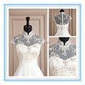 2015 New White or Ivory Hollow Wedding Bolero Lace High Collar Wedding Coat Charming Appliqued Short Wedding Bolero(ASPS-1021)