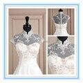 2015 nova branco ou marfim oco Bolero do casamento do laço de noiva gola alta casaco charme Appliqued Bolero de noiva curto ( ASPS-1021 )