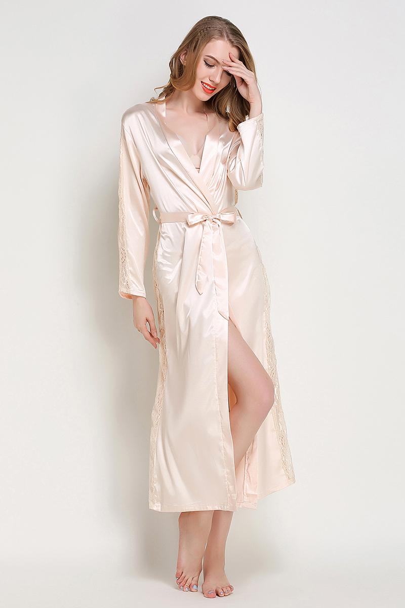 c2999b33b SusanDick 2018 Mulheres Pijamas de Seda Robe   Vestido Set de Luxo China  Cetim Robe Bothrobe Pijamas Roupa Lady Sexy Primavera OutonoUSD 14.63 set