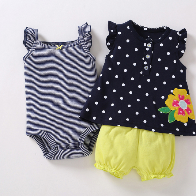 newborn baby girl clothes set sleeveless t-shirt tops+Romper+shorts 2019 summer outfit infant clothing new born suit fashion 5