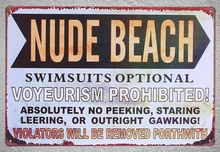 1 pc Nude Beach Summer VACATION VOYEURISM PROHIBITED Surfing Tin Plate Sign plaques Man cave vintage Shop store metal poster