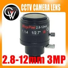 3.0Megapixel Fixed Iris M12 HD 2.8-12mm view angle 90~28Degree Varifocal cctv IR HD Lens,F1.4,Manual Focus Zoom