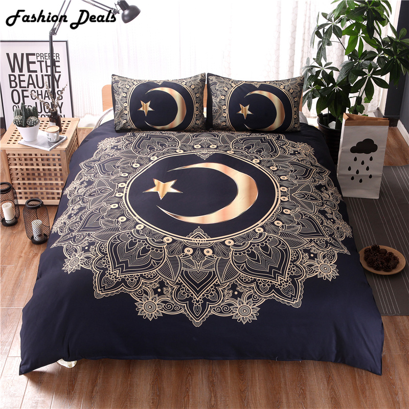 Home Textile 3Pcs Gold Mandala Flowers Star Moon Duvet Cover Set Black Dark Blue Cotton Bedding Set Soft Quilt Cover Bed CoverHome Textile 3Pcs Gold Mandala Flowers Star Moon Duvet Cover Set Black Dark Blue Cotton Bedding Set Soft Quilt Cover Bed Cover