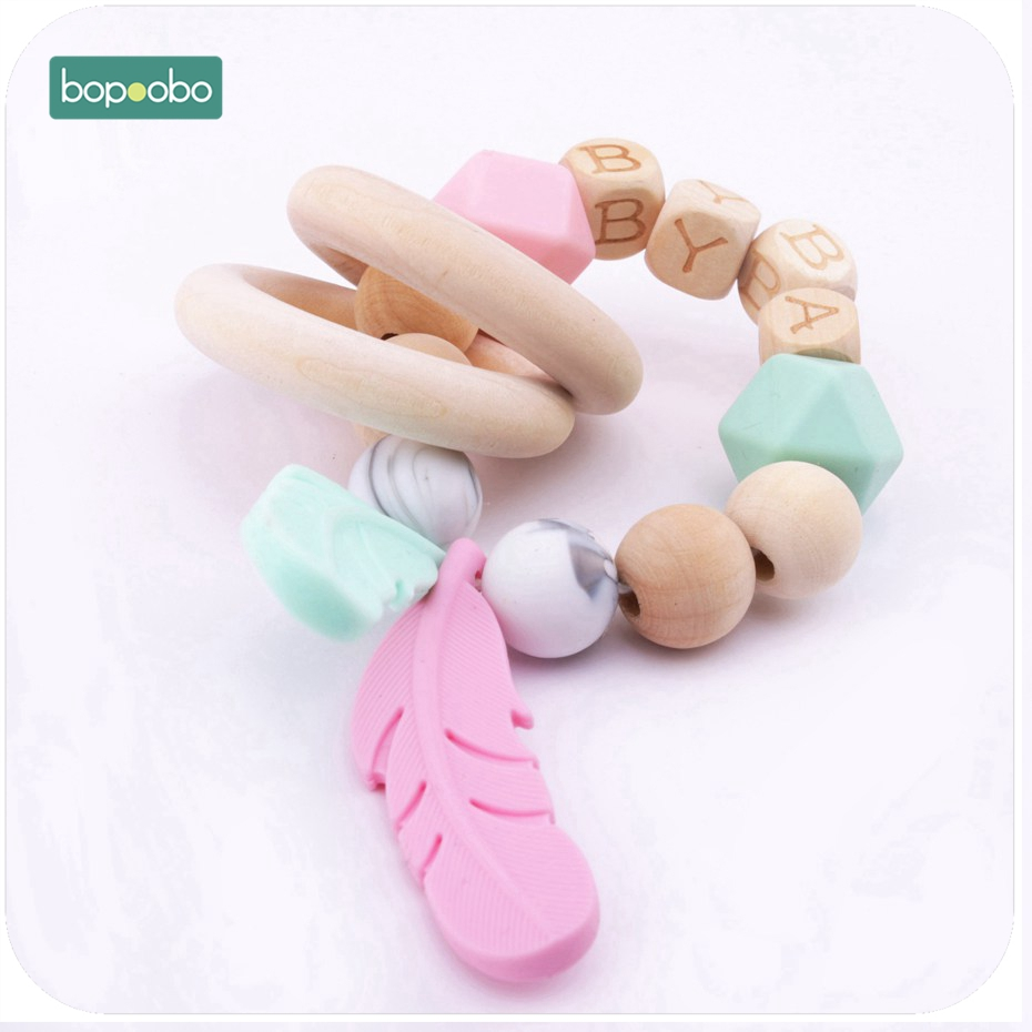 Bopoobo 1pc DIY Craft Baby Bracelet Food Grade Silicone Feather Pendant Chewing