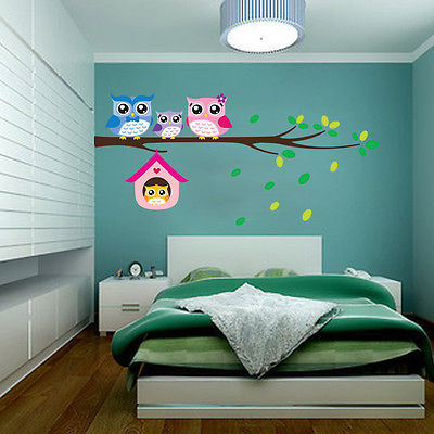 New Cute DIY Removable Colorful Six Owls Bird Branch Vinyl Decal Wall Mural Sticker Poster Home Decor